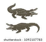 crocodiles' shapes isolated on... | Shutterstock .eps vector #1092107783