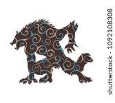 werewolf pattern silhouette... | Shutterstock .eps vector #1092108308