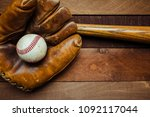 a group of vintage baseball... | Shutterstock . vector #1092117044