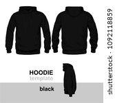 hoodie template black   Shutterstock .eps vector #1092118859