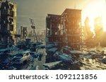 apocalypse flooding city view... | Shutterstock . vector #1092121856