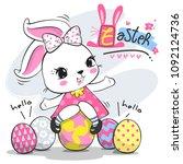 cartoon baby rabbit girl in... | Shutterstock .eps vector #1092124736