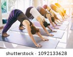 women exercising in fitness... | Shutterstock . vector #1092133628