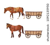 Horse With Cart. Set Of Vector...