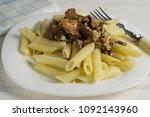 pasta with wild mushrooms ...   Shutterstock . vector #1092143960