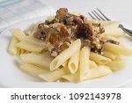 pasta with wild mushrooms ...   Shutterstock . vector #1092143978