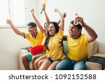 group of friends watching... | Shutterstock . vector #1092152588