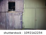 Small photo of An old shaky and faded barn door with an entrance door and an open window hatch.