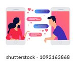 two lovers chatting on mobile...   Shutterstock .eps vector #1092163868
