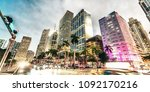 downtown miami at dusk. city... | Shutterstock . vector #1092170216