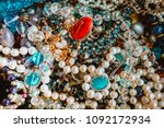 collection of vintage jewelry  | Shutterstock . vector #1092172934