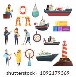 cartoon set of sailors  captain ... | Shutterstock .eps vector #1092179369