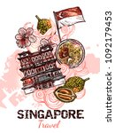 singapore hand drawn sketch... | Shutterstock .eps vector #1092179453