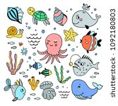 sea creatures hand drawn set.... | Shutterstock .eps vector #1092180803