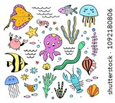 underwater sea creatures... | Shutterstock .eps vector #1092180806