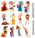 mythology cartoon set of famous ... | Shutterstock .eps vector #1092181973