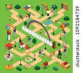 kindergarten isometric... | Shutterstock .eps vector #1092184739