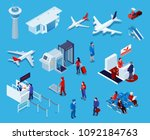 airport isometric icons set of... | Shutterstock .eps vector #1092184763