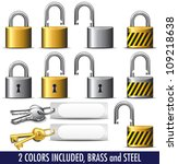 padlock and key in brass and... | Shutterstock .eps vector #109218638
