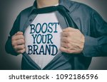 man showing boost your brand... | Shutterstock . vector #1092186596