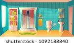 vector bathroom interior with... | Shutterstock .eps vector #1092188840