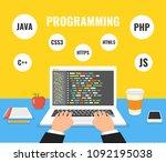 programmer coding on laptop... | Shutterstock .eps vector #1092195038