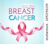 breast cancer awareness poster... | Shutterstock .eps vector #1092196154