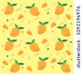fruit in summer   yellow mango... | Shutterstock .eps vector #1092196976