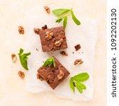 brownie sweet chocolate dessert ... | Shutterstock . vector #1092202130