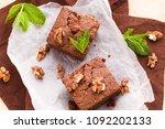 brownie sweet chocolate dessert ... | Shutterstock . vector #1092202133