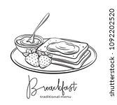 vector hand drawn toast with... | Shutterstock .eps vector #1092202520