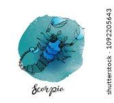 vector steampunk zodiac scorpio....   Shutterstock .eps vector #1092205643