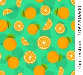 seamless pattern with oranges... | Shutterstock .eps vector #1092206600