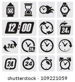 vector black clocks icons in... | Shutterstock .eps vector #109221059
