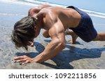 muscular shirtless caucasian... | Shutterstock . vector #1092211856