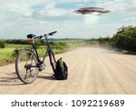 landscape with bike on the road ... | Shutterstock . vector #1092219689