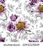 seamless floral pattern. violet ... | Shutterstock .eps vector #1092225839