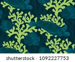 underwater sealife seamless... | Shutterstock .eps vector #1092227753