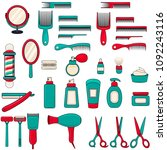 set of barbershop equipment.... | Shutterstock .eps vector #1092243116