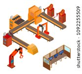 robotic production line.... | Shutterstock .eps vector #1092255509