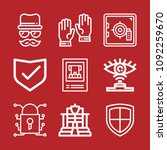 set of 9 security outline icons ... | Shutterstock .eps vector #1092259670