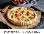 delicious white asparagus tart... | Shutterstock . vector #1092261029