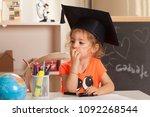 girl  learning at kindergarten... | Shutterstock . vector #1092268544