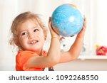 girl  learning at kindergarten... | Shutterstock . vector #1092268550