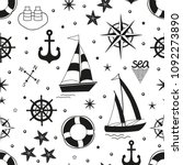 marine seamless pattern with...   Shutterstock .eps vector #1092273890