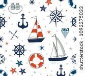 marine seamless pattern with... | Shutterstock .eps vector #1092275033