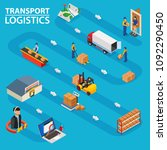 transport logistics   isometric ... | Shutterstock .eps vector #1092290450