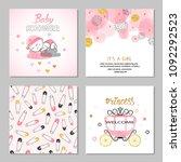 baby shower girl vector set in... | Shutterstock .eps vector #1092292523