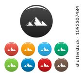 mountain peak icon. simple... | Shutterstock .eps vector #1092307484