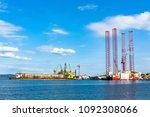 oil rigs under maintenance near ...   Shutterstock . vector #1092308066